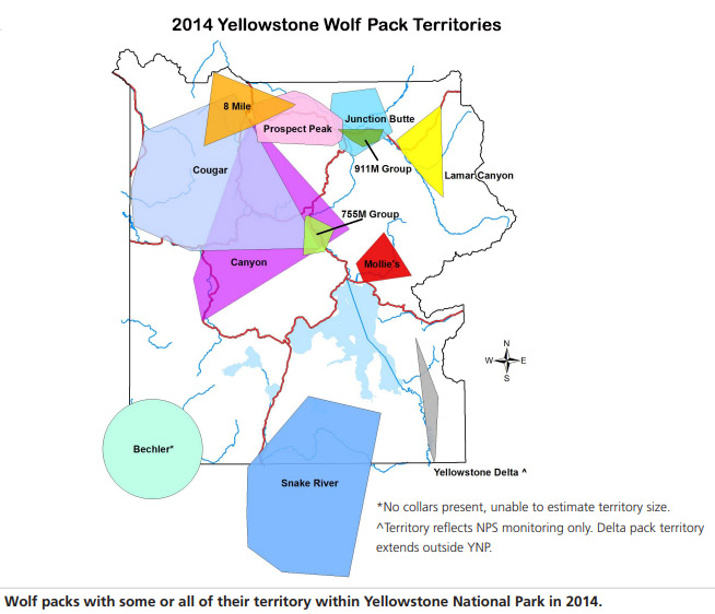 2014 Wolf Pack Map - NPS Image