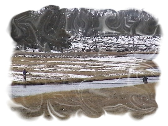 Fly fishing on the Firehole River from Fountain Flats Drive by John William Uhler ©