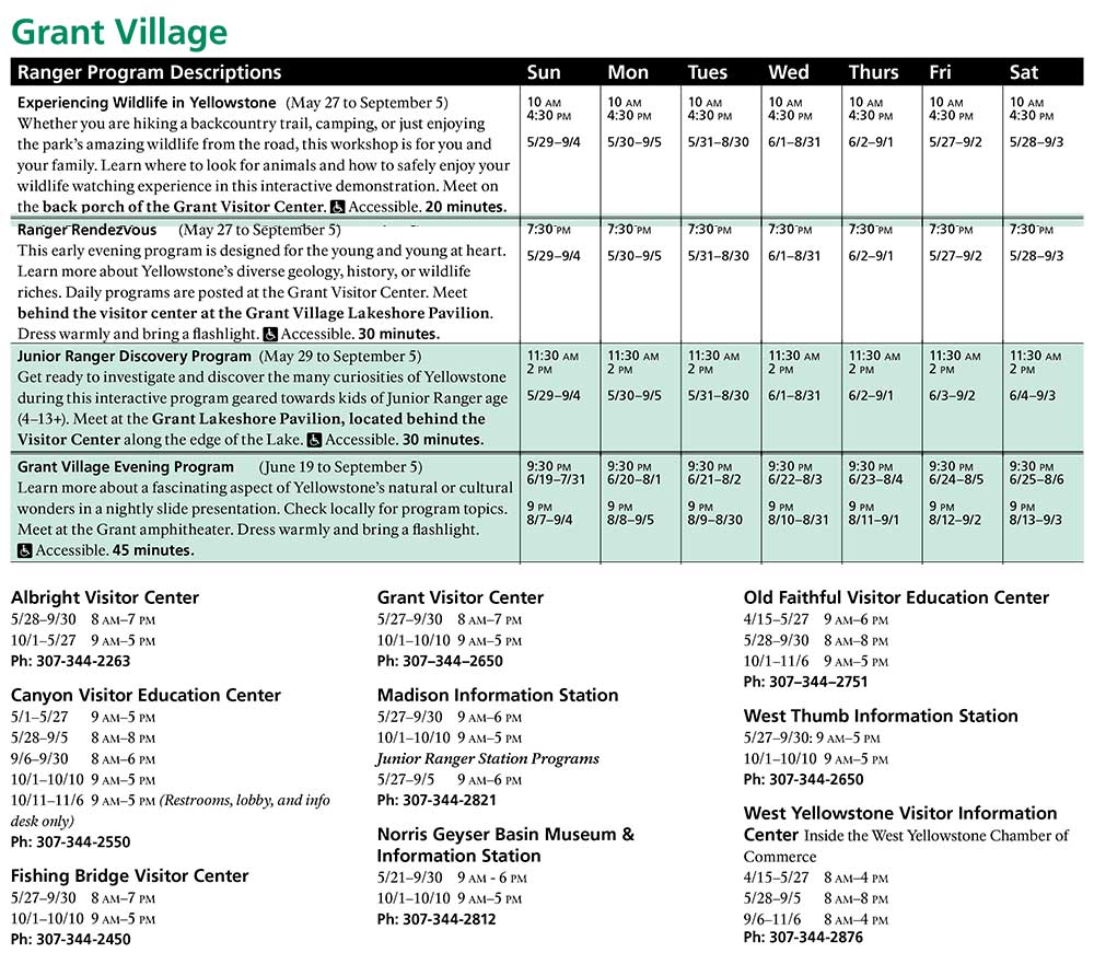 Grant Village Spring and Summer Ranger Led Activities