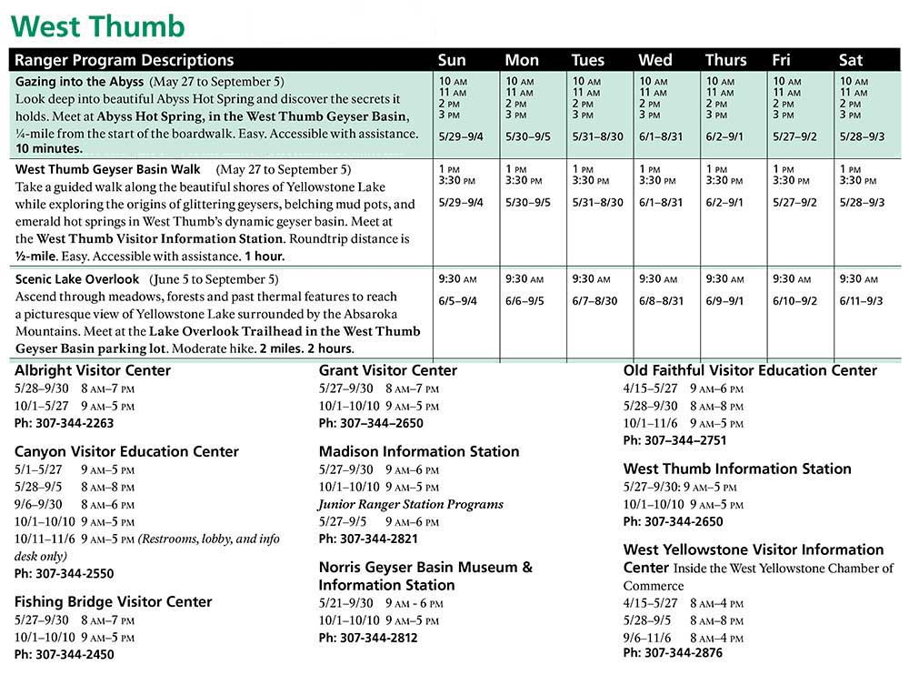West Thumb Spring and Summer Ranger Led Activities