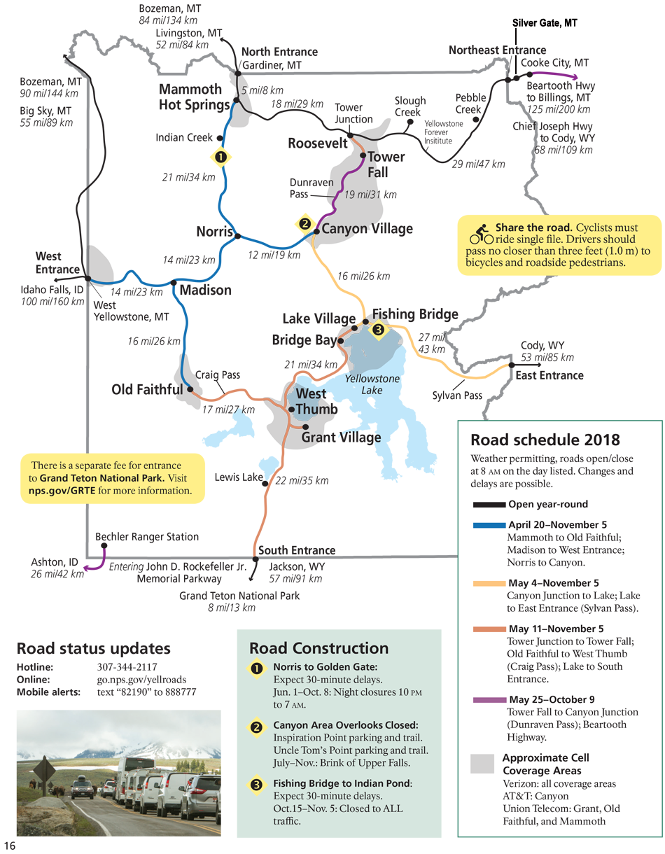 Map for Spring 2018 for Yellowstone National Park