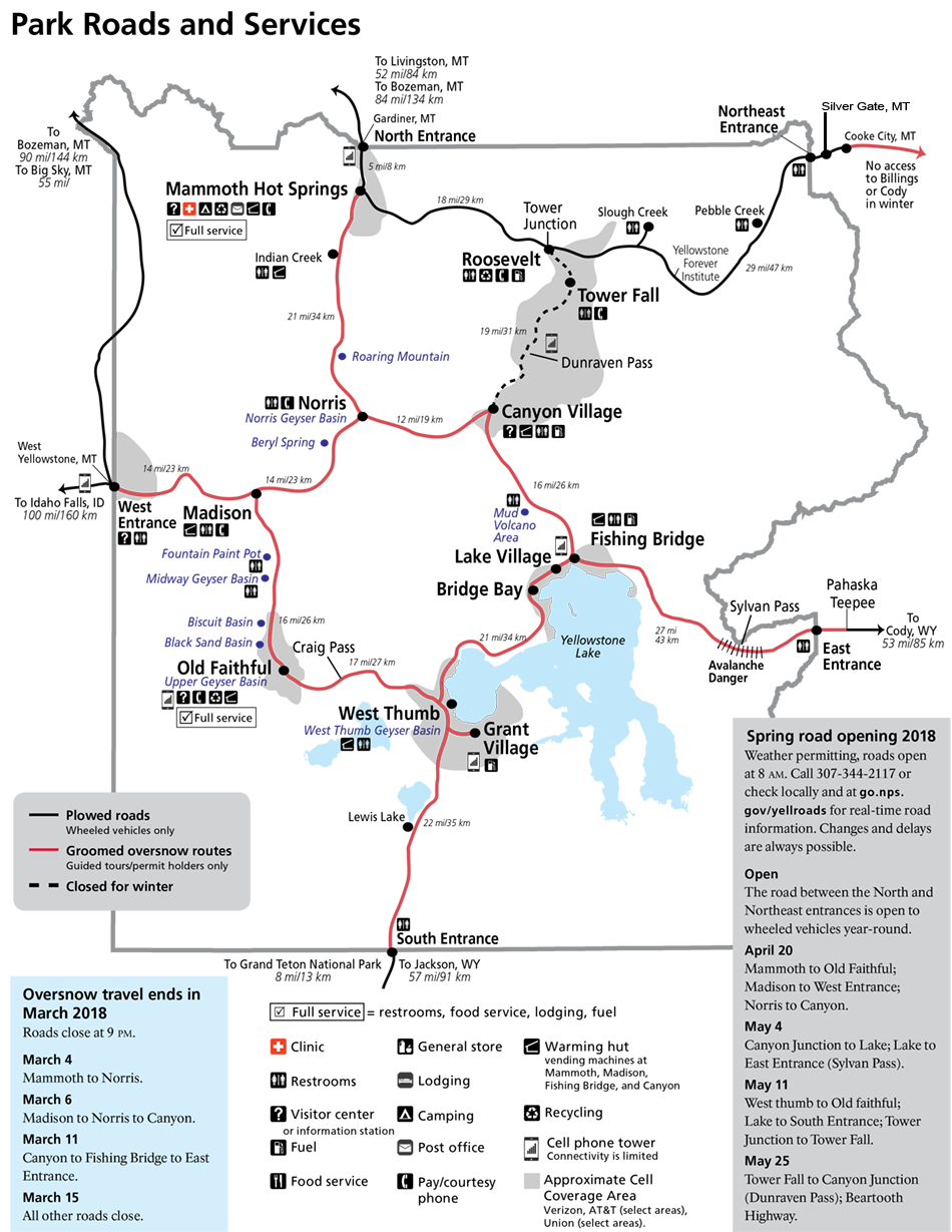 Yellowstone national park schedule yellowstone up close and personal map for winter 2017 2018 for yellowstone national park publicscrutiny Image collections