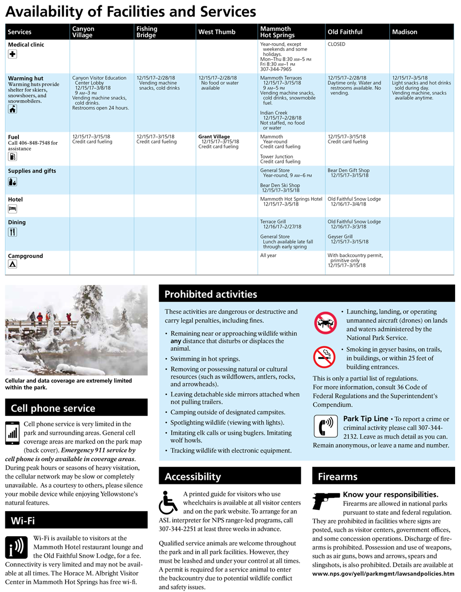 Yellowstone national park winter ranger led activities yellowstone services schedule for winter 2017 2018 for yellowstone national park publicscrutiny Image collections