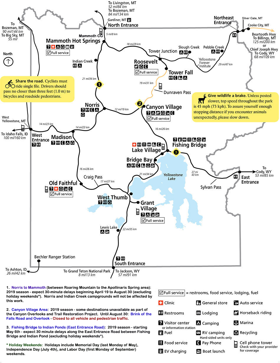Map for Spring 2019 for Yellowstone National Park